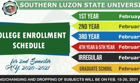 College Enrollment Schedule for 2nd Semester AY 2020-2021